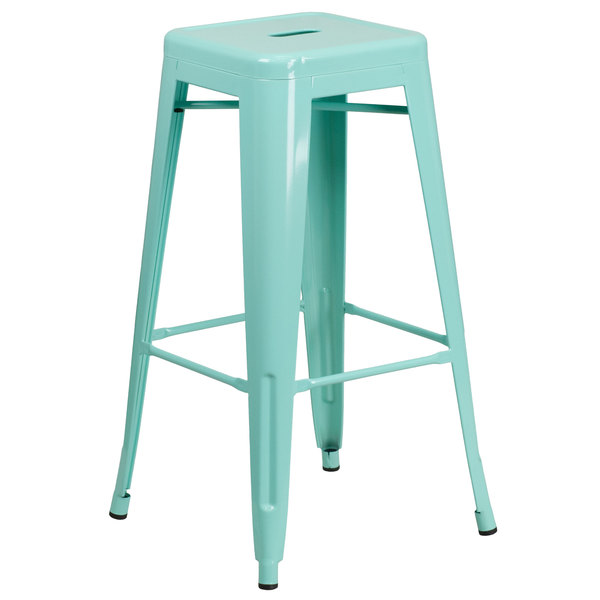 Pleasing Flash Furniture Et Bt3503 30 Mint Gg 30 Mint Green Stackable Metal Indoor Outdoor Backless Bar Height Stool With Square Drain Seat Uwap Interior Chair Design Uwaporg