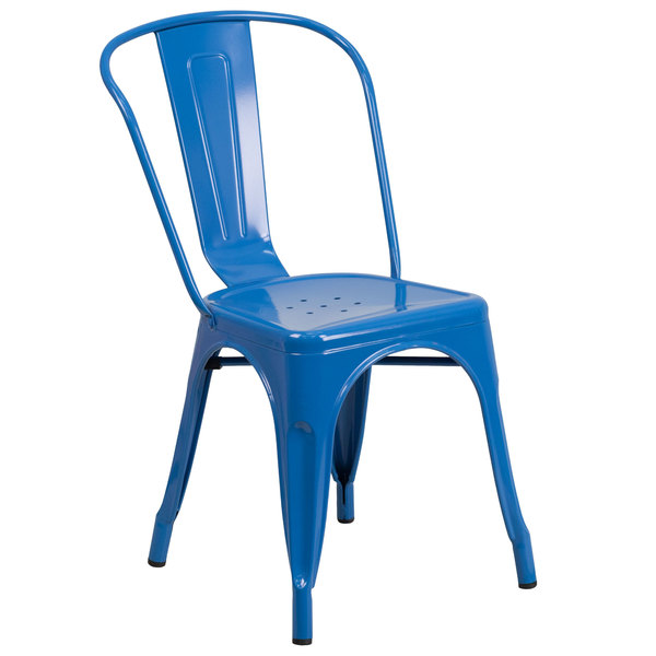 Flash Furniture CH-31230-BL-GG Blue Stackable Galvanized Steel Chair with Vertical Slat Back and Drain Hole Seat Main Image 1
