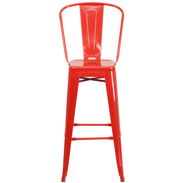 Wondrous Flash Furniture Ch 31320 30Gb Red Gg 30 Red Galvanized Steel Bar Height Stool With Vertical Slat Back And Drain Hole Seat Uwap Interior Chair Design Uwaporg