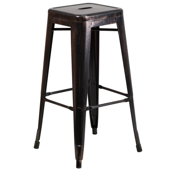 """Flash Furniture CH-31320-30-BQ-GG 30"""" Black-Antique Gold Stackable Metal Indoor / Outdoor Backless Bar Height Stool with Square Drain Seat Main Image 1"""