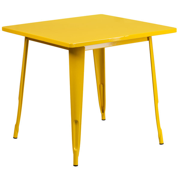 "Flash Furniture ET-CT002-1-YL-GG 30"" Yellow Metal Indoor / Outdoor Square Cafe Table Main Image 1"
