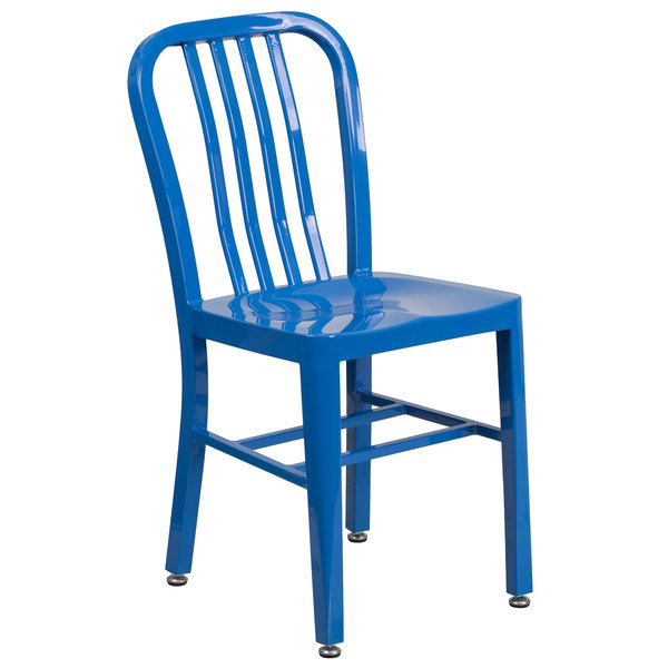Flash Furniture CH-61200-18-BL-GG Blue Metal Indoor / Outdoor Chair with Vertical Slat Back Main Image 1