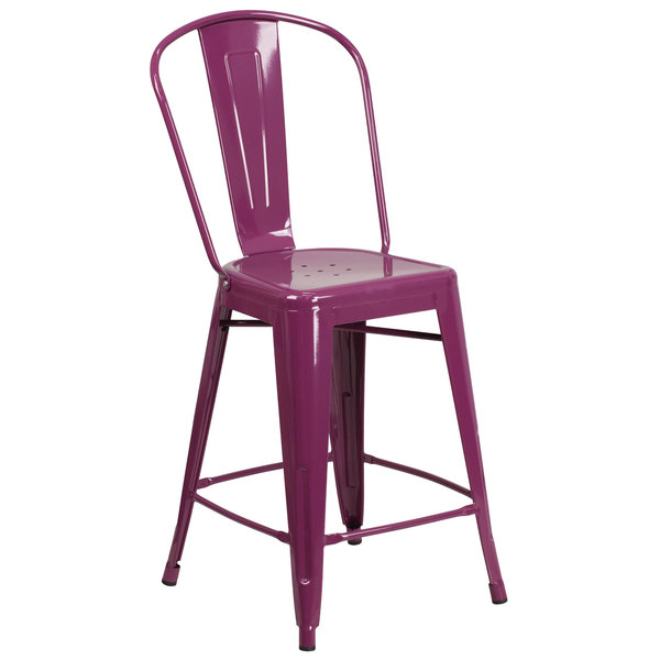 """Flash Furniture ET-3534-24-PUR-GG 24"""" Purple Galvanized Steel Counter Height Stool with Vertical Slat Back and Drain Hole Seat Main Image 1"""
