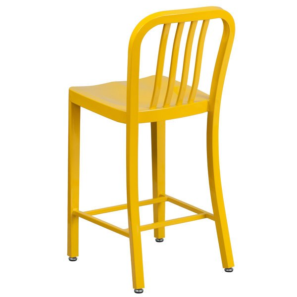 Pleasing Flash Furniture Ch 61200 24 Yl Gg 24 Yellow Metal Indoor Outdoor Counter Height Stool With Vertical Slat Back Squirreltailoven Fun Painted Chair Ideas Images Squirreltailovenorg