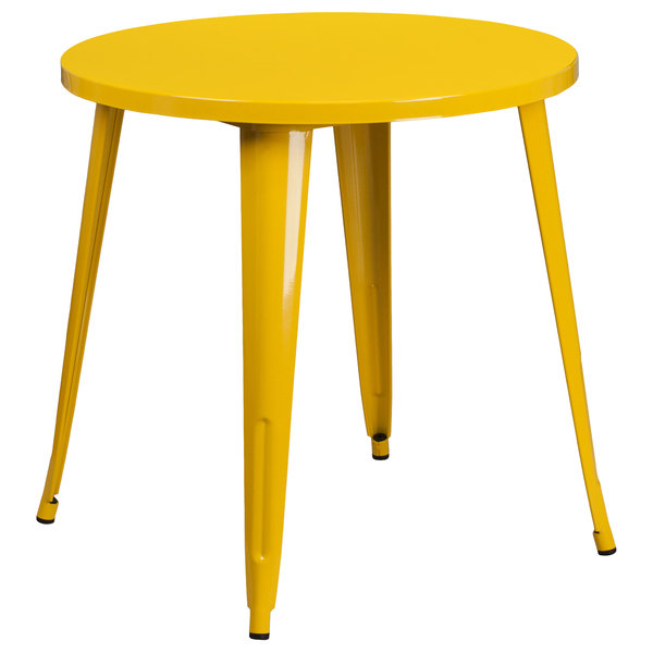 "Flash Furniture CH-51090-29-YL-GG 30"" Yellow Metal Indoor / Outdoor Round Cafe Table Main Image 1"