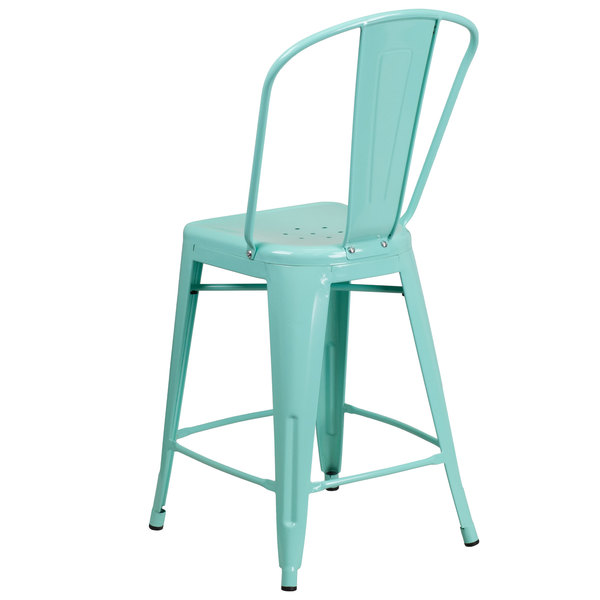 Superb Flash Furniture Et 3534 24 Mint Gg 24 Green Mint Galvanized Steel Counter Height Stool With Vertical Slat Back And Drain Hole Seat Cjindustries Chair Design For Home Cjindustriesco