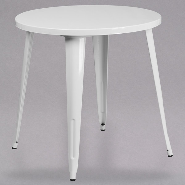 Flash Furniture CHWHGG White Metal Indoor Outdoor - Round metal cafe table