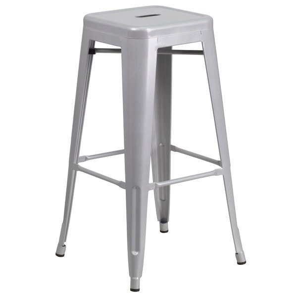 Fabulous Flash Furniture Ch 31320 30 Sil Gg 30 Silver Stackable Metal Indoor Outdoor Backless Bar Height Stool With Square Drain Seat Uwap Interior Chair Design Uwaporg