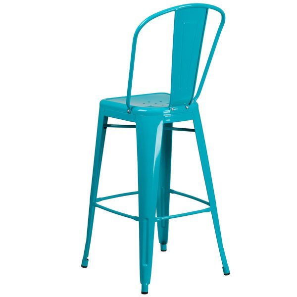 Super Flash Furniture Et 3534 30 Cb Gg 30 Crystal Teal Blue Galvanized Steel Bar Height Stool With Vertical Slat Back And Drain Hole Seat Cjindustries Chair Design For Home Cjindustriesco