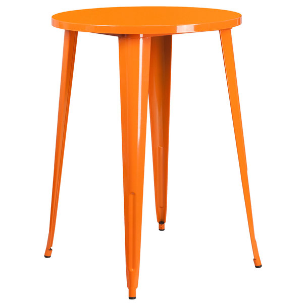 """Flash Furniture CH-51090-40-OR-GG 30"""" Orange Metal Indoor / Outdoor Round Bar Height Table Main Image 1"""