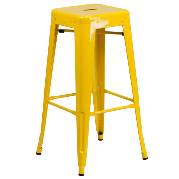 Outstanding Flash Furniture Ch 31320 30 Yl Gg 30 Yellow Stackable Metal Indoor Outdoor Backless Bar Height Stool With Square Drain Seat Uwap Interior Chair Design Uwaporg