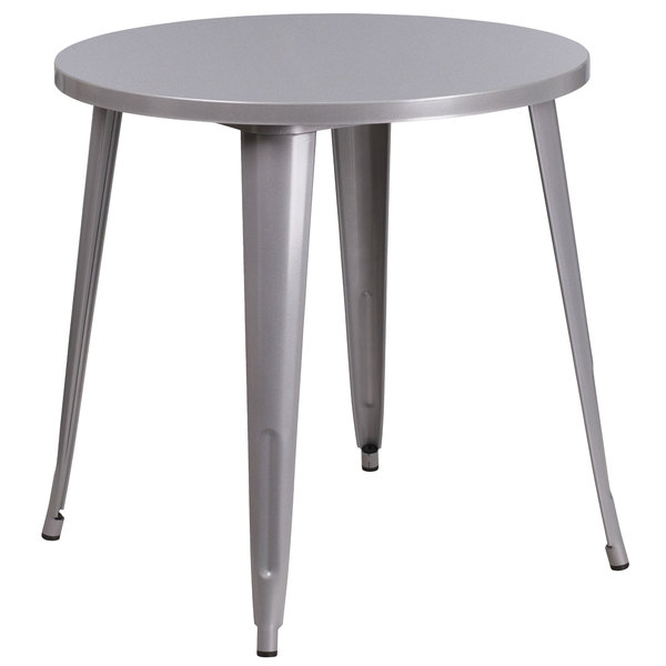"""Flash Furniture CH-51090-29-SIL-GG 30"""" Silver Metal Indoor / Outdoor Round Cafe Table Main Image 1"""