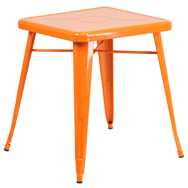 """Flash Furniture CH-31330-29-OR-GG 24"""" Orange Metal Indoor / Outdoor Square Cafe Table Main Image 1"""
