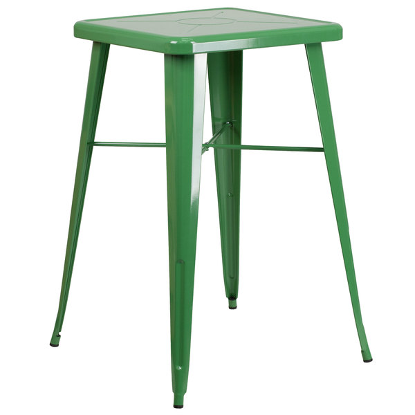 """Flash Furniture CH-31330-GN-GG 23 3/4"""" Green Metal Indoor / Outdoor Square Bar Height Table Main Image 1"""