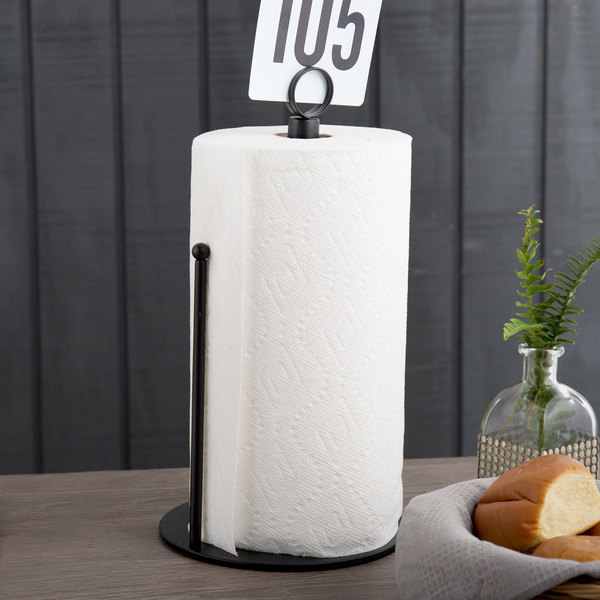 """American Metalcraft PTBR 7"""" x 13"""" Black Contemporary Round Paper Towel Holder with Card Holder"""