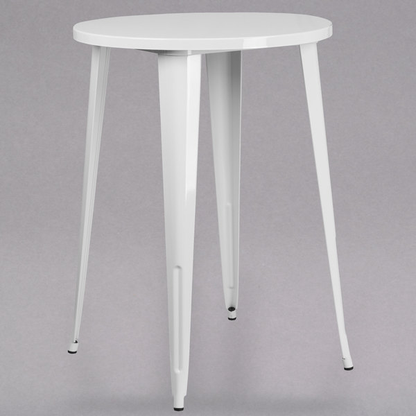 "Flash Furniture CH-51090-40-WH-GG 30"" White Metal Indoor / Outdoor Round Bar Height Table Main Image 1"