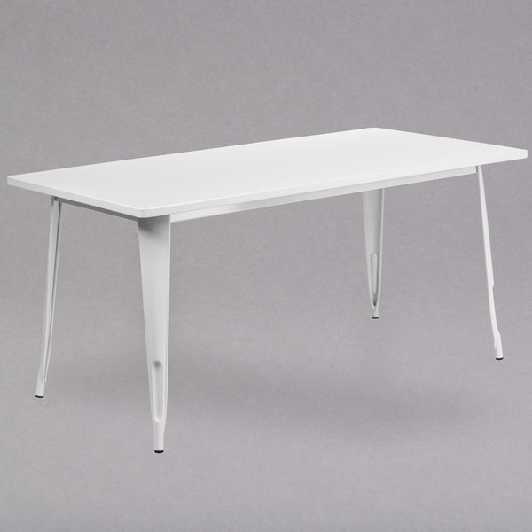 """Flash Furniture ET-CT005-WH-GG 31 1/2"""" x 63"""" White Metal Indoor / Outdoor Rectangular Cafe Table Main Image 1"""
