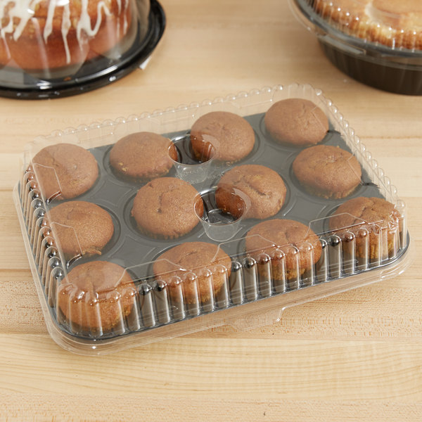 Genpak 95312 Bake 'N Show Clear Dome Lid for 55312 Dual Ovenable 12 Cup Mini Muffin Pan - 500/Case Main Image 7