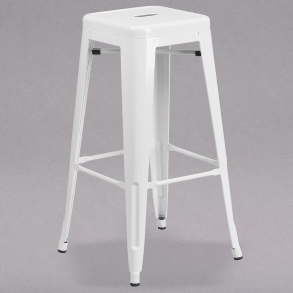 Awe Inspiring Flash Furniture Ch 31320 30 Wh Gg 30 White Stackable Metal Indoor Outdoor Backless Bar Height Stool With Square Drain Seat Uwap Interior Chair Design Uwaporg