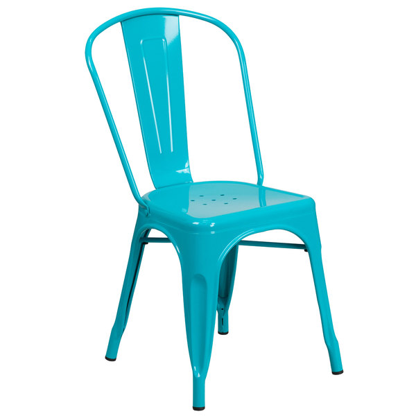Flash Furniture ET-3534-CB-GG Crystal Teal Blue Stackable Galvanized Steel Chair with Vertical Slat Back and Drain Hole Seat