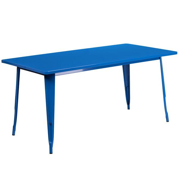 "Flash Furniture ET-CT005-BL-GG 31 1/2"" x 63"" Blue Metal Indoor / Outdoor Rectangular Cafe Table Main Image 1"