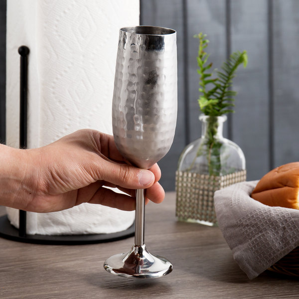 Hammered Finish Stainless Steel Champagne Flute