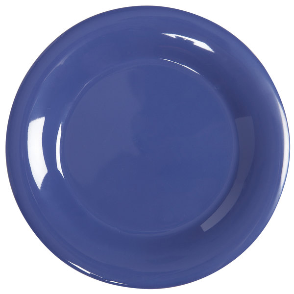 "GET WP-6-PB Diamond Mardi Gras 6 1/2"" Peacock Blue Wide Rim Round Melamine Plate - 48/Case"