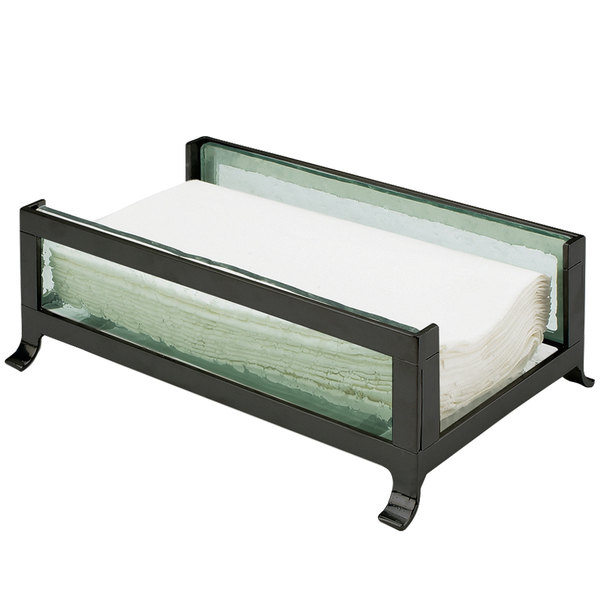 """Cal-Mil 1588-43 Soho Black Napkin Holder with Faux Glass Sides - 9 1/2"""" x 6 1/4"""" x 3 1/2"""""""