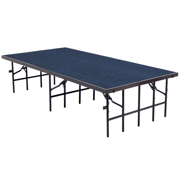 """National Public Seating S368C Single Height Portable Stage with Blue Carpet - 36"""" x 96"""" x 8"""" Main Image 1"""