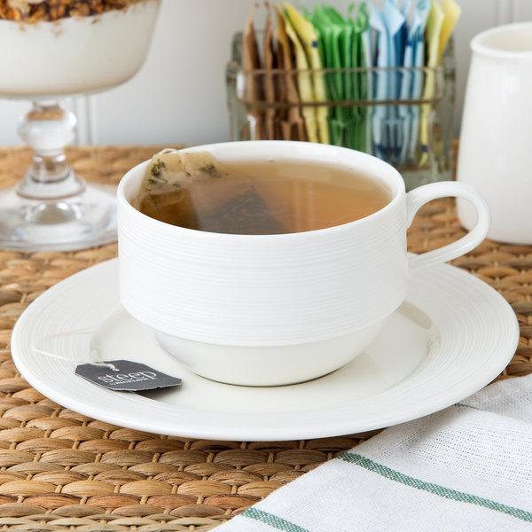 Oneida L5650000528 Manhattan 6 1 4 Warm White Porcelain Soup Cup Saucer 48 Case