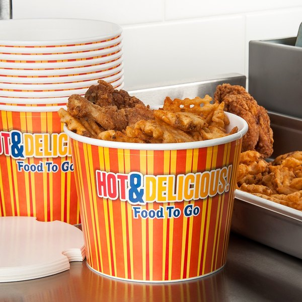 Choice 64 oz. Hot Food Bucket with Lid - 35/Pack