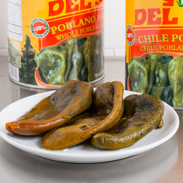 Del Sol #10 Can Whole Poblano Peppers - 6/Case