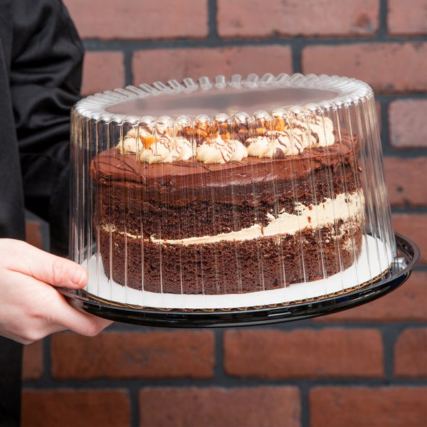 "D&W Fine Pack G23-1 8"" 2-3 Layer Cake Display Container with Clear Dome Lid - 10/Pack"