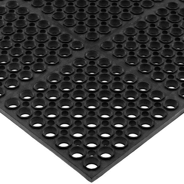 "San Jamar KM2100B Tuf-Mat 3' x 5' Black Grease-Resistant Bagged Floor Mat - 3/4"" Thick"