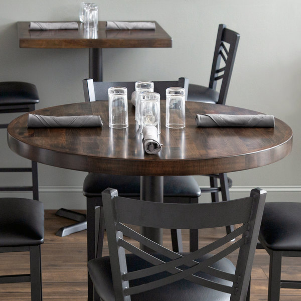 """Lancaster Table & Seating 36"""" Round Recycled Wood Butcher Block Table Top with Espresso Finish"""