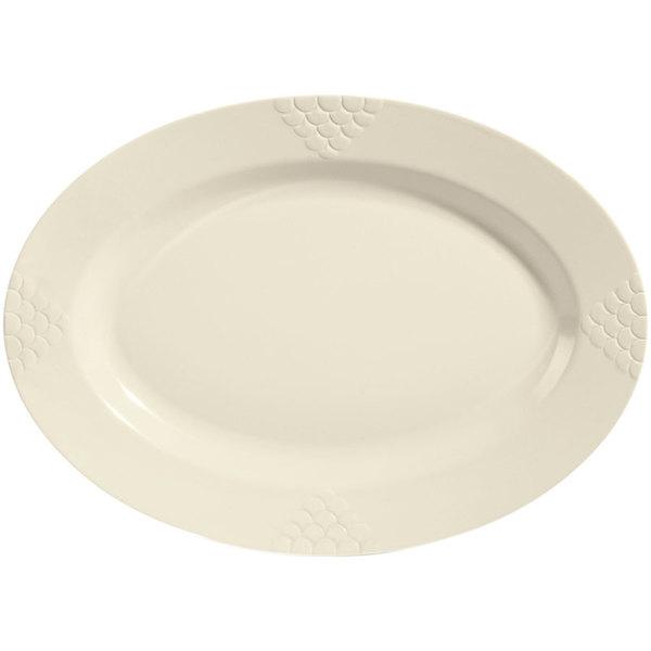 """GET OP-630-IV 30"""" x 20 1/4"""" Ivory Sonoma Melamine Oval Platter - 6/Case Main Image 1"""