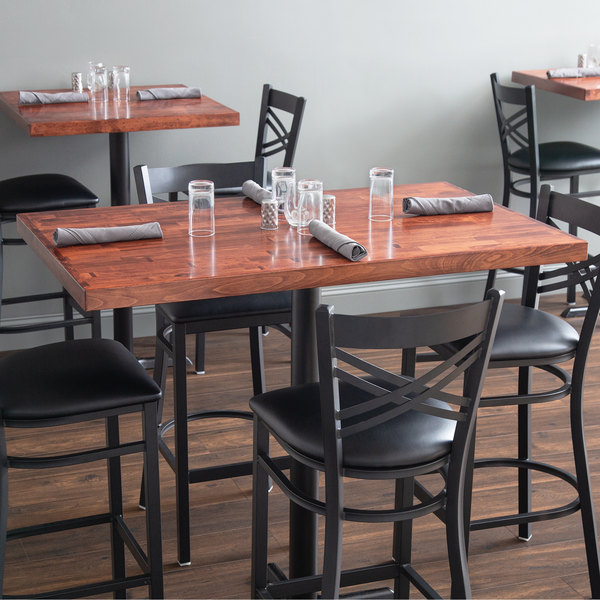 "Lancaster Table & Seating 30"" x 48"" Recycled Wood Butcher Block Table Top with Mahogany Finish Main Image 3"