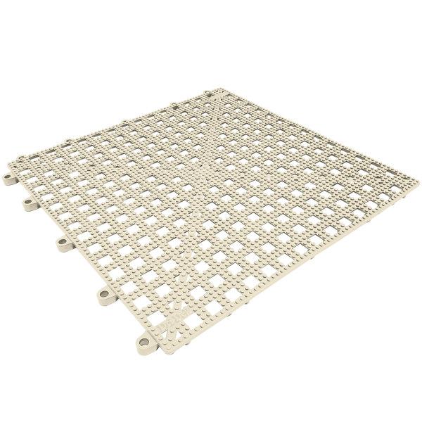"""Cactus Mat 2554-AT Dri-Dek Almond 12"""" x 12"""" Vinyl Slip-Resistant Interlocking Drainage Floor Tile - 9/16"""" Thick"""