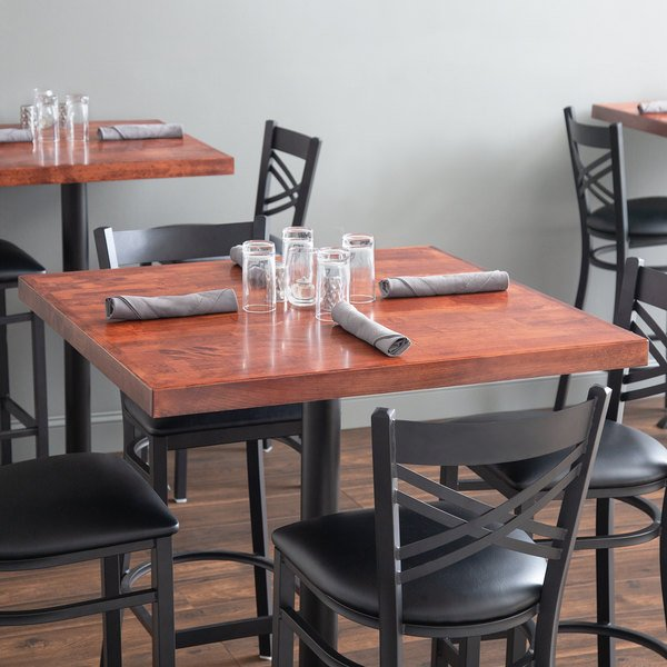 "Lancaster Table & Seating 36"" x 36"" Recycled Wood Butcher Block Table Top with Mahogany Finish"