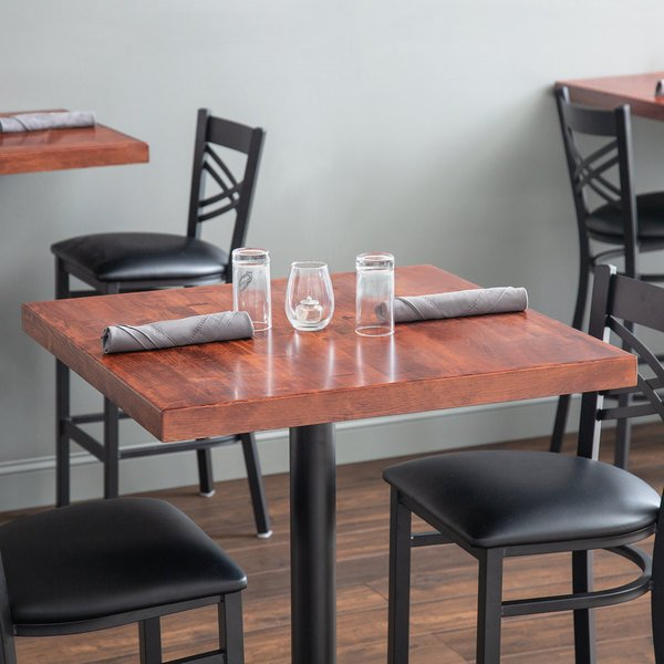"Lancaster Table & Seating 30"" x 30"" Recycled Wood Butcher Block Table Top with Mahogany Finish"