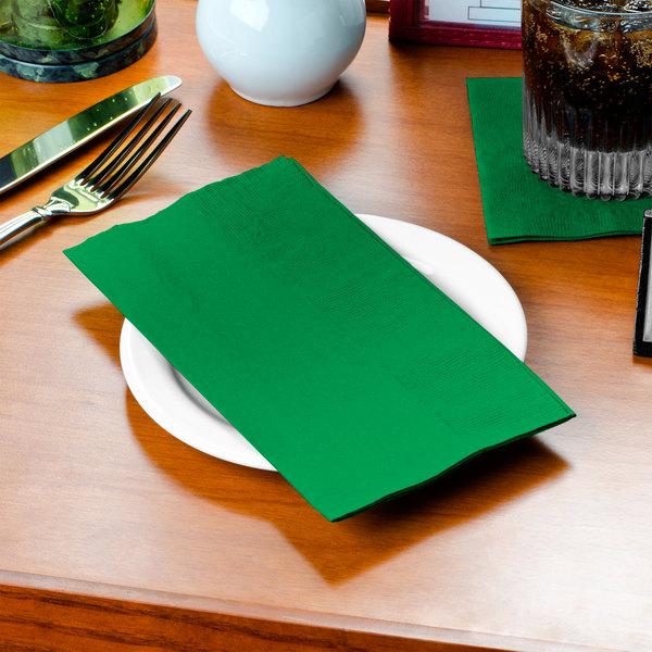 "Festive Green Paper Dinner Napkin, Choice 2-Ply Customizable, 15"" x 17"" - 1000/Case"