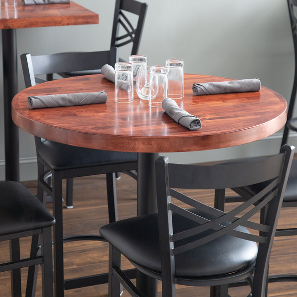Outstanding Lancaster Table Seating 36 Round Recycled Wood Butcher Block Table Top With Mahogany Finish Beutiful Home Inspiration Cosmmahrainfo