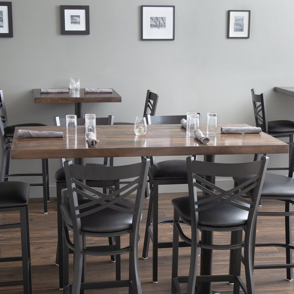 """Lancaster Table & Seating 30"""" x 60"""" Recycled Wood Butcher Block Table Top with Espresso Finish Main Image 3"""
