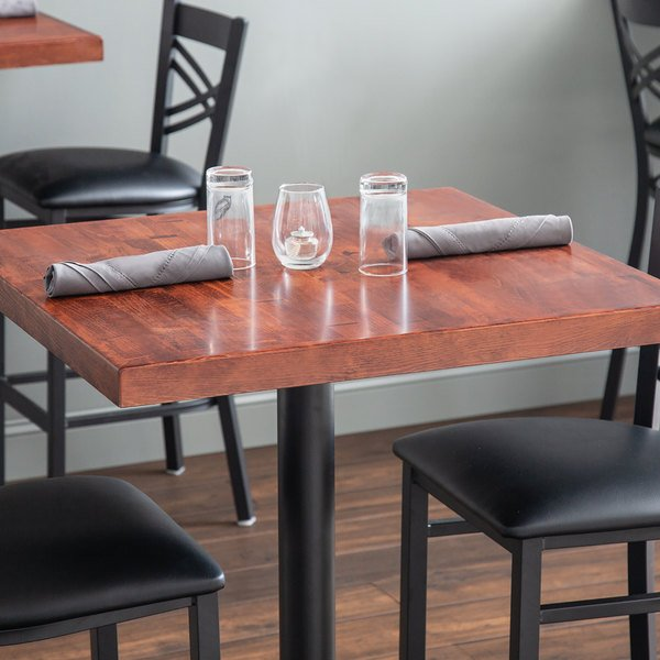 "Lancaster Table & Seating 24"" x 24"" Recycled Wood Butcher Block Table Top with Mahogany Finish"