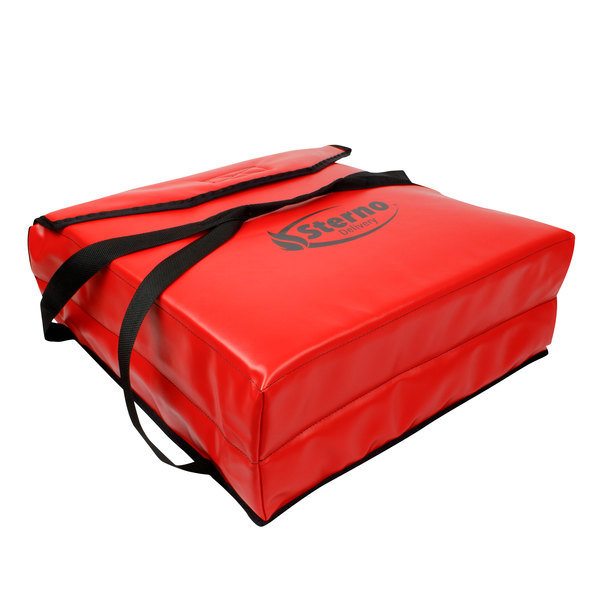 """Sterno Products 72606 15"""" x 15"""" x 7"""" Red Small Delivery Insulated Pizza Carrier - Holds (3) 14"""" Pizzas"""