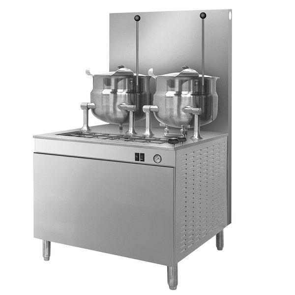 Cleveland 36-GM-K1010-300 Natural Gas (2) 10 Gallon Tilting 2/3 Steam Jacketed Kettles with Modular Generator Base - 300,000 BTU