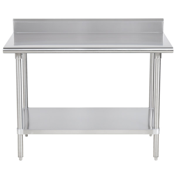 "Advance Tabco KSS-364 36"" x 48"" 14 Gauge Work Table with Stainless Steel Undershelf and 5"" Backsplash"
