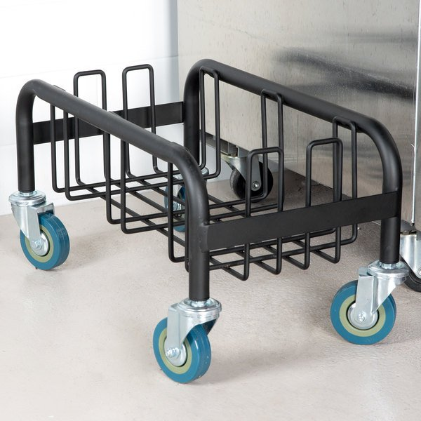 Lavex Janitorial Black Slim Trash Can Dolly Main Image 2