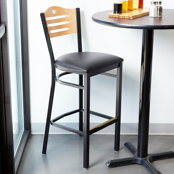 """Detached Seat Lancaster Table & Seating Natural Finish Bar Height Bistro Chair with 2"""" Padded Seat"""