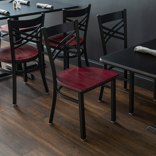 Detached Seat Lancaster Table & Seating Cross Back Black Chair with Mahogany Seat